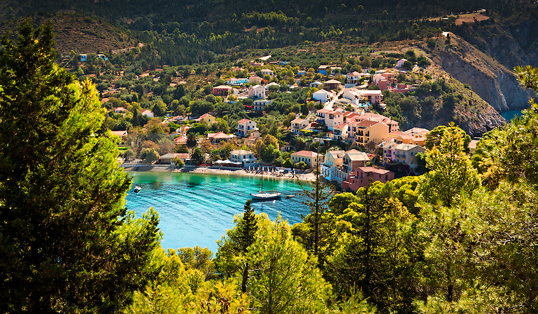 Assos on the Greek island of Kefalonia or Cephalonia