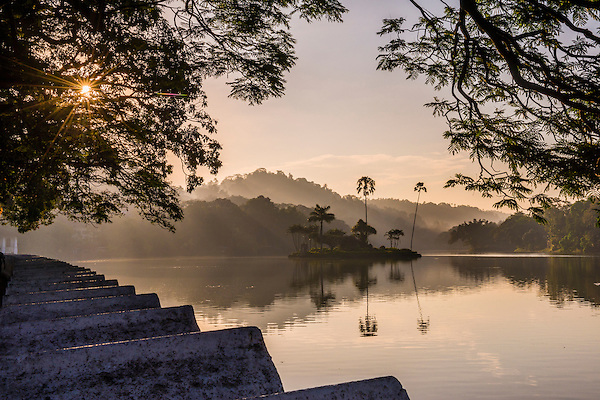 Kandy Lake and the island which houses the Royal Summer House at sunrise, Kandy, Central Province, Sri Lanka, Asia. This is a photo of Kandy Lake and the island that houses the Royal Summer House at sunrise in Kandy, Central Province of Sri Lanka, Asia.