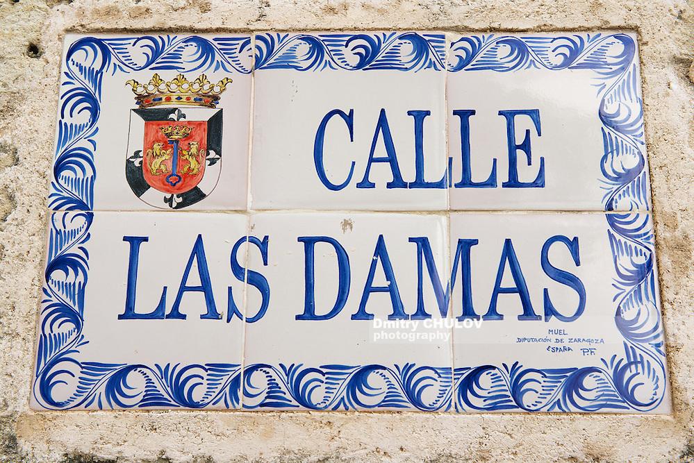 SANTO DOMINGO, DOMINICAN REPUBLIC - NOVEMBER 07, 2012: Exterior of the vintage street name sign in Santo Domingo, Dominican Republic. (Dmitry Chulov)