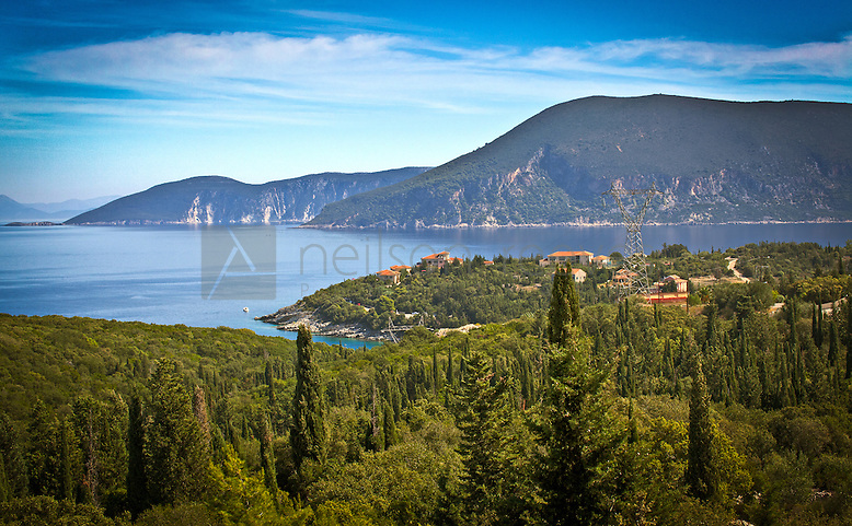 view from 2nd floor room of Almyra hotel kefalonia looking out onto Fiskardo Bay