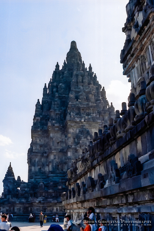 Java, Central Java, Prambanan. Candi Shiva Mahadeva, Loro Jonggrang, in the background. (Bjorn Grotting)