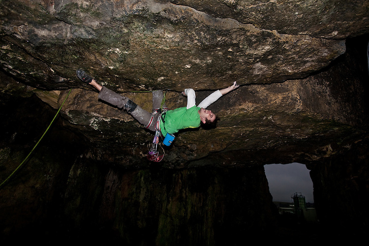 Tom Randall Climbing 'Gobbler's Roof' E7 6c at Harbrough Rocks. The UK's hardest off-width. The grade does not truly represent the difficulty of this route. The training for this route required 100,000 sit ups, ten hours of heel/toe deadhanging and one visit to a campus board. Objectively this route is two grades harder than Ray's Roof...Copyrighted work - Permission must be sought before use of this image..Alex Ekins +44 (0)7901 882994 (Alex Ekins)