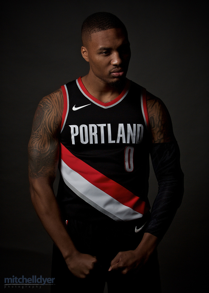 Portland Trail Blazers guard Damian Lillard poses for a portrait during media day at the Moda Center in Portland, Ore., Wednesday, April 12, 2017. (AP Photo/Craig Mitchelldyer) (Craig Mitchelldyer, Craig Mitchelldyer/AP)