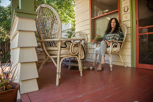 """I have lived in this house for nine years...it is a work in progress.""  -Retired corporate comptroller, Susan Baxter at her home on 2nd Street in Calistoga (Clark James Mishler)"