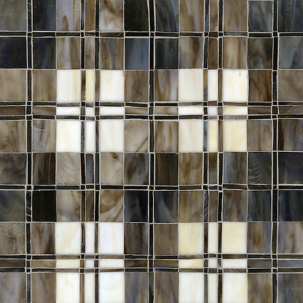 Hamish, a jewel glass mosaic shown in Lavastone, Schist, Quartz, Jasper and Obsidian, is part of the Plaids and Ginghams Collection by New Ravenna Mosaics. (New Ravenna Mosaics 2012)