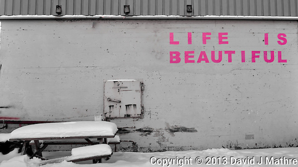 """Life is Beautiful"" painted in pink on a wall in Tromsø, Norway. Image taken with a Leica X2 camera (ISO 100, 24 mm, f/5, 1/50 sec). Raw image processed with Capture One Pro (David J Mathre)"