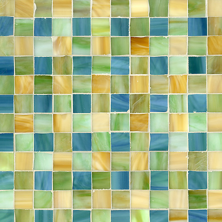 Bonnie, a jewel glass mosaic field shown in Peacock Topaz, Peridot and Amber, is part of the Plaids and Ginghams Collection by New Ravenna Mosaics. (New Ravenna Mosaics 2012)