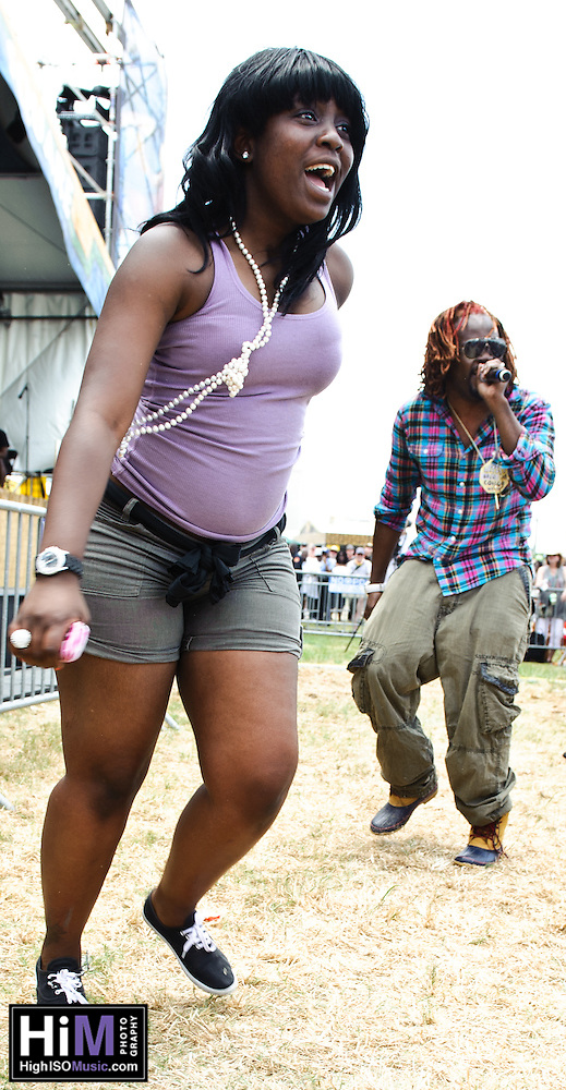 Big Freedia, Sissy Nobby, Katey Red playing at Jazz Fest in New Orleans, LA on day 2. (Golden G. Richard III)