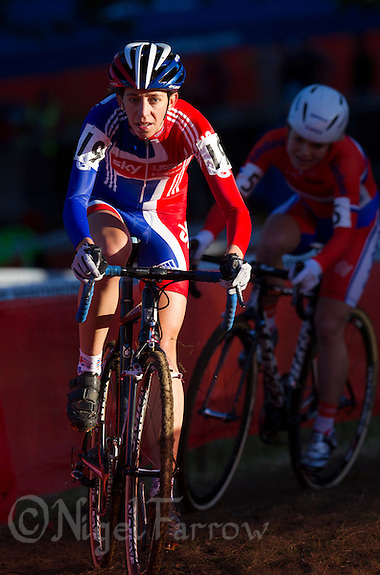 03 NOV 2012 - IPSWICH, GBR - Helen Wyman (GBR) of Great Britain leads Sanne van Paassen (NED) of the Netherlands as they make their way round the course during the Elite Women's European Cyclo-Cross Championships in Chantry Park, Ipswich, Suffolk, Great Britain (PHOTO (C) 2012 NIGEL FARROW) (NIGEL FARROW/(C) 2012 NIGEL FARROW)