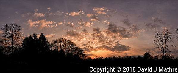 Springtime Dawn Panorama; Silhouettes, Colorful Clouds and Sky. Composite of eighteen images taken with a Leica CL camera and 18 mm f/2.8 lens (ISO 100, 18 mm, f/10, 1/30 sec). Raw images processed with Capture One Pro and AutoPano Giga Pro. (David J Mathre)