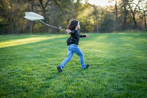 Five year old Elevlyn flies the kite she made in pre-school on a cool evening at Logvy Park in Calistoga. (Clark James Mishler)