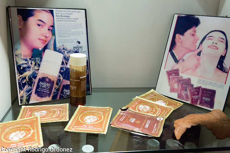 An old line of Sari Ayu products is displayed at the Martha Tilaar museum in East Jakarta, Indonesia, on July 2, 2015. (Rodrigo Ordonez)