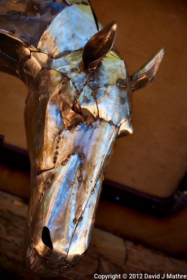 Metallic Horse Sculpture in Santa Fe, New Mexico. Image taken with a Nikon 1 V1 camera and 30-110 mm VR lens (ISO 100, 30 mm, f/3.8, 1/80 sec). (David J Mathre)