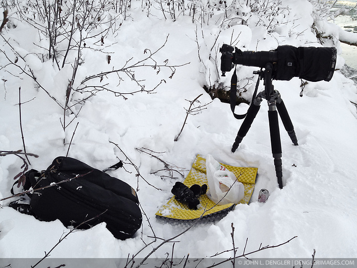 Photographic equipment belonging to independent photojournalist John L. Dengler set up along the  banks of the Chilkat River where John was photographing bald eagles. SPECIAL NOTE: iPhone photo (John L. Dengler)