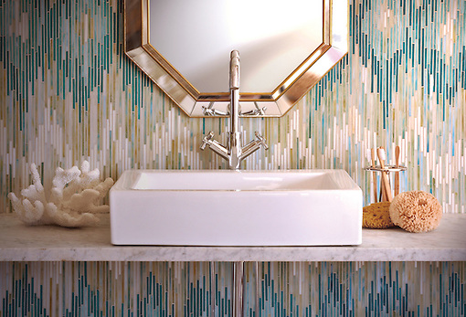 Loom, a jewel glass mosaic shown in Quartz, Aquamarine, Tanzanite and Turquoise, is part of the Ikat Collection by New Ravenna Mosaics. As seen in Coastal Living. (New Ravenna Mosaics)