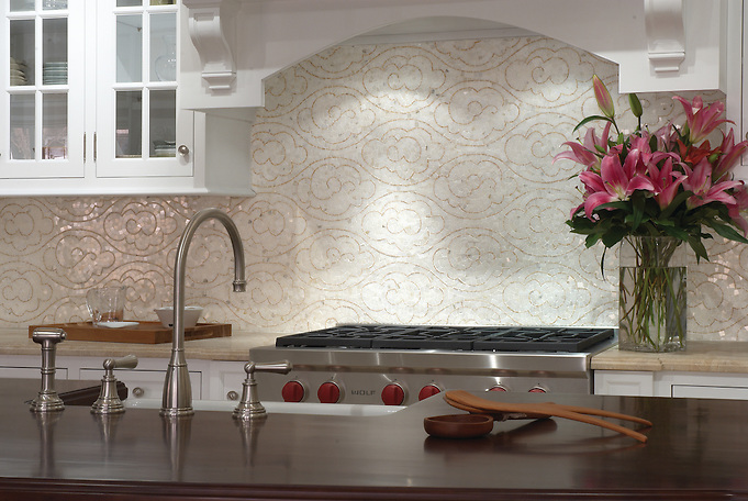 Tatewaku marble backsplash in Gascogne Blue honed and Calacatta Tia polished (New Ravenna Mosaics 2006)