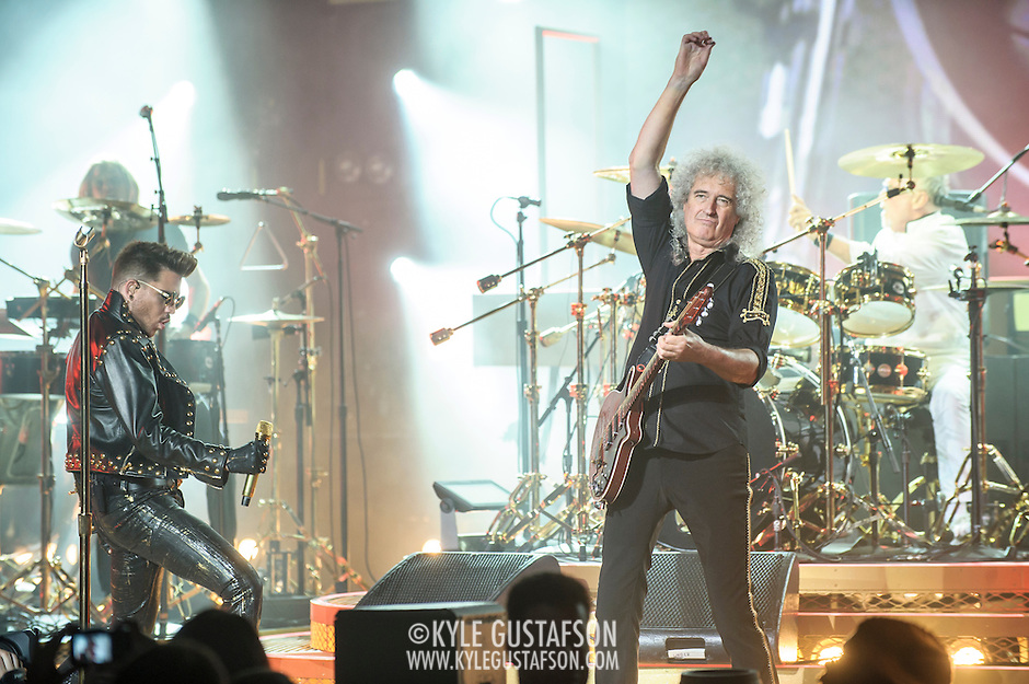 COLUMBIA, MD - July 20th, 2014 - Adam Lambert performs with Brian May and Roger Taylor of Queen at Merriweather Post Pavilion in Columbia, MD. Lambert is handling the majority of vocal duties for the group on their current US tour, but both May and Taylor sang lead vocals on songs from the group's vast back catalogue. (Photo by Kyle Gustafson / For The Washington Post) (Kyle Gustafson/For The Washington Post)