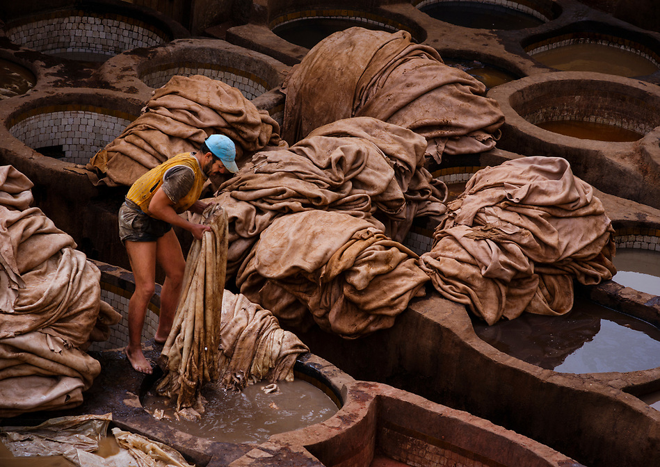FEZ, MOROCCO - CIRCA APRIL 2017: Man working in the Fez tannery dyeing leather. (Daniel Korzeniewski)