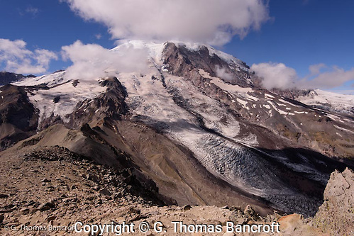 Looking down on the Winthrop Glacier from the top of Burroughs #3. I am at 7800 feet right now. (G. Thomas Bancroft)