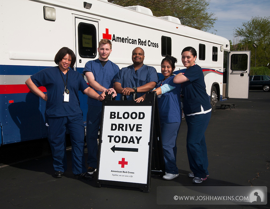 American Red Cross blood services employees for the Las Vegas area and the mobile donation center.