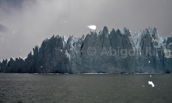 Snow falling over the Perito Moreno Glacier