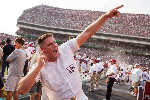 COLLEGE STATION, TX - SEPTEMBER 14: Yell Leader, Alabama at Texas A&M, photographed at Kyle Field in College Station, Texas on September 14 2013. Photograph © 2013 Darren Carroll (Darren Carroll)