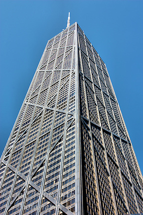 Looking up the impressive structure of the John Hancock Center (Ian C Whitworth)