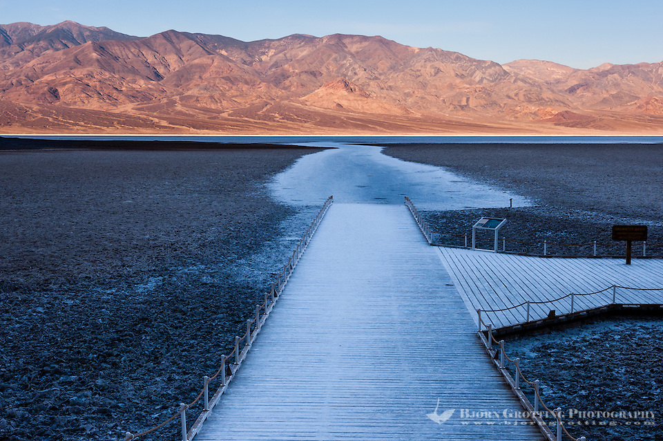 United States, California, Death Valley. Badwater is a salt flat 86 meters (282 ft) below sea level. Early in the morning,  the sun rises. (Photo Bjorn Grotting)