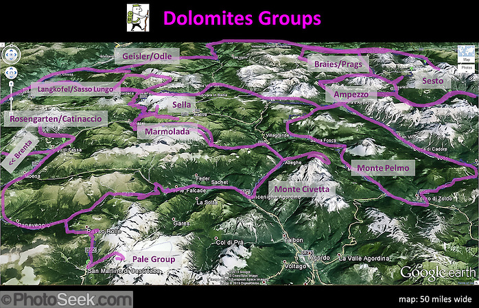 Dolomites Groups map, Italy, Europe (from Google Earth). Mapped Dolomites Groups include: Brenta, Rosengarten/Catinaccio, Langkofel/Sassolungo, Geisler/Odle, Sella, Marmolada, Monte Civetta, Monte Pelmo, Pale di San Martino/Pala Group, Ampezzo, Braies/Prags, Sesto. (Tom Dempsey)