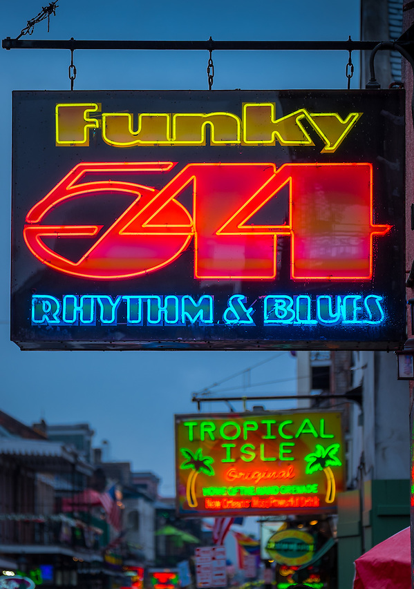 NEW ORLEANS - CIRCA FEBRUARY 2014: Neon sign over Bourbon Street  in the New Orleans French Quarter in Louisiana, at night. (Daniel Korzeniewski)