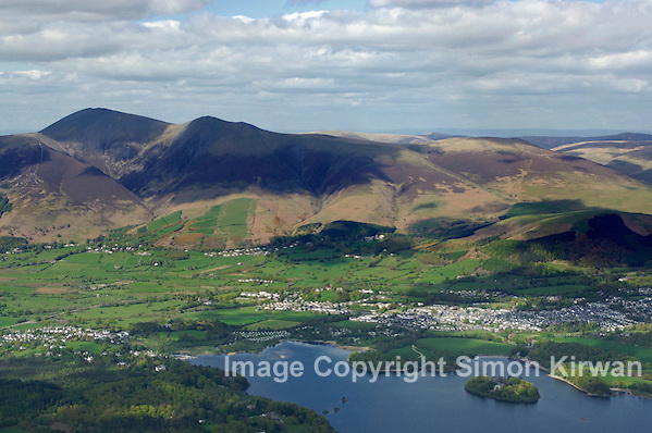 Skiddaw, Keswick & Derwent Water Aerial View, Lake District From The Air - Aerial Photography By Simon Kirwan