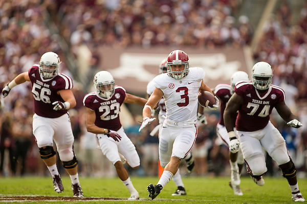 COLLEGE STATION, TX - SEPTEMBER 14: Vinnie Sunseri returns an interception for a touchdown, Alabama at Texas A&M, photographed at Kyle Field in College Station, Texas on September 14 2013. Photograph © 2013 Darren Carroll (Darren Carroll)