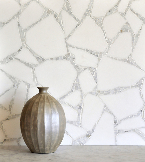 Path, a stone mosaic shown in Thassos and Calacatta, is part of the Metamorphosis Collection by Sara Baldwin for New Ravenna Mosaics. (New Ravenna Mosaics 2008)