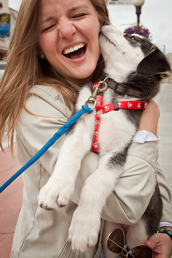 Melissa McKeithen receives kisses from a husky puppy during Golden Days, Fairbanks, Alaska (Clark James Mishler)