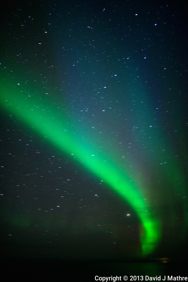 Northern Lights While Sailing North on the Hurtigruten MS Nordkapp. Image taken with a Nikon D800 and 24 mm f/1.4G lens (ISO 1600, 24 mm, f/1.4, 4 sec). (David J Mathre)