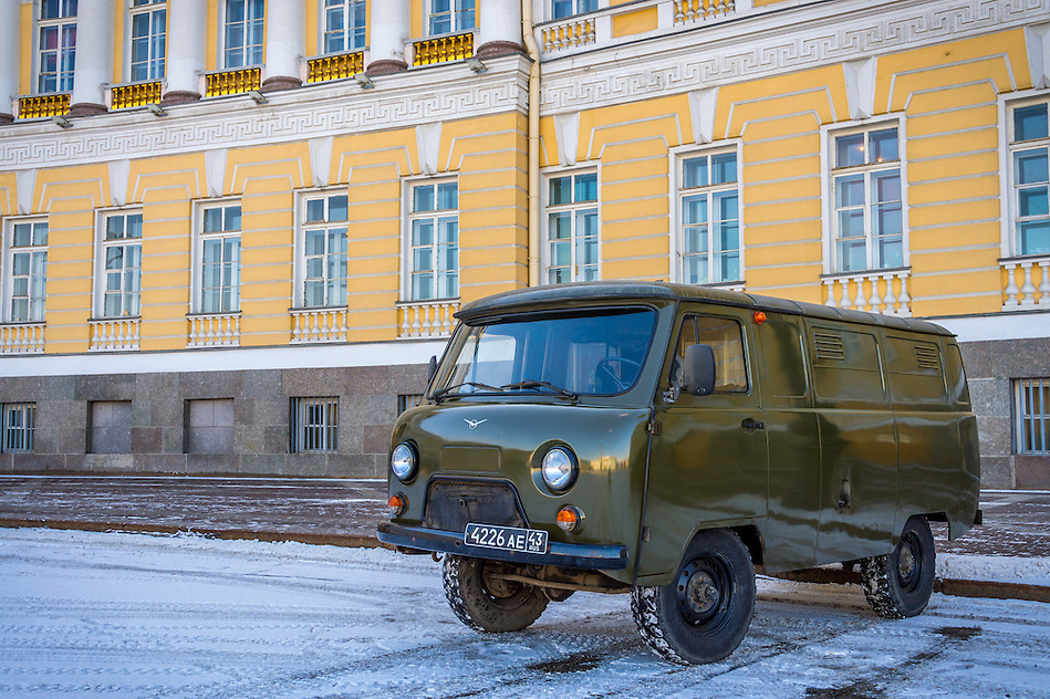 ST. PETERSBURG - CIRCA MARCH 2013: Old van parked in the streets of St. Petersburg, circa March 2013. The city is a tourist attraction with 221 museums, 2000 libraries, and 80  plus theaters within the city. (Daniel Korzeniewski)