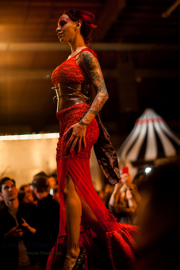 The Crucible's Hot Couture 2015 fashion show is held on January 9 and 10, 2015 in Oakland, California. The avante garde fashion show features local artists and celebrates the four elements: air, earth, fire and water. (bryan farley)