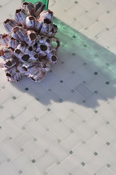 Basketweave 3x5 cm shown in Paperwhite and Ming Green honed (New Ravenna Mosaics)