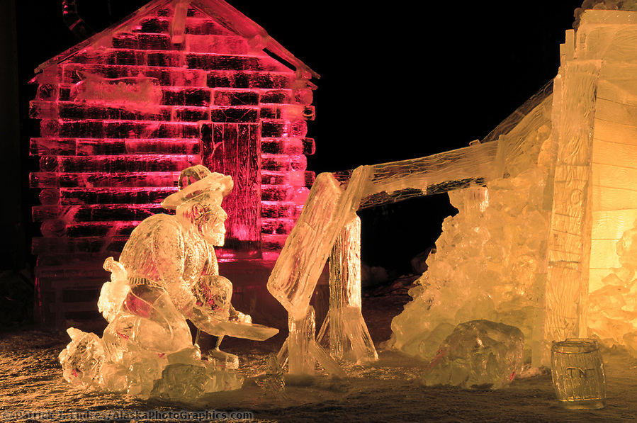 Ice sculpting photos: Multi Block Ice sculpture at the World Ice Art Championships held each march in Fairbanks, Alaska (Patrick J. Endres / AlaskaPhotoGraphics.com)