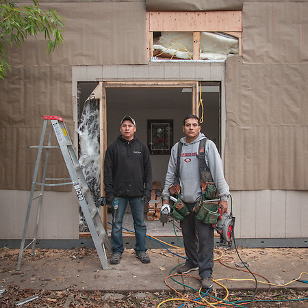 "Eduardo and Carlos work on a small construction site in Calistoga ""I just quite my construction job...after 17 years, I have decided to go out on my own...I should have done this a long time ago."" -Edwardo (© Clark James Mishler)"