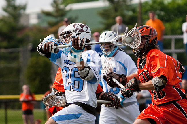 05/16/2012 - Medford, Mass. - Tufts midfielder Peter Bowers (26), A14, rears back for a shot in Tufts 15-13 win over RIT in the NCAA Championship quarterfinal at Bello Field on May 16, 2012.  (Kelvin Ma/Tufts University) (Kelvin Ma/Tufts University)