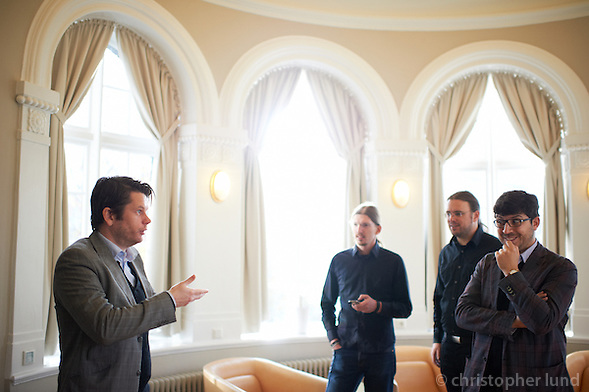 Members of the german Piraten Partei get a tour of Alþingi Parlament building in Reykjavik lead by Guðmundur Steingrímsson. (Christopher Lund/©2011 Christopher Lund)