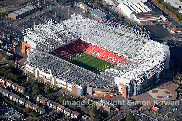 Old Trafford, Manchester Utd FC from the Air aerial photography by Simon Kirwan