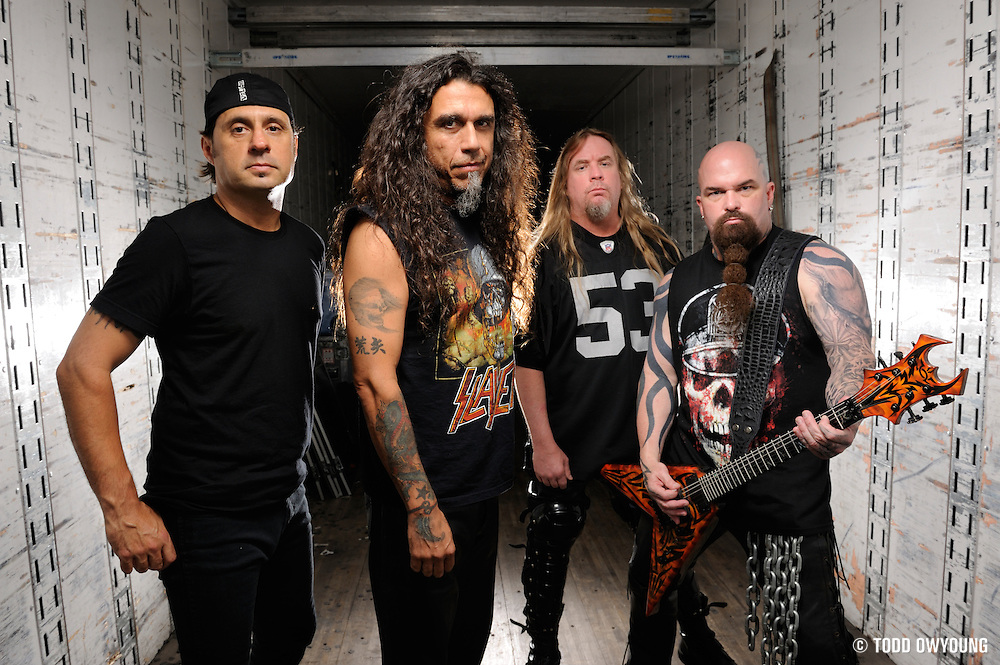 Portraits of pioneering thrash metal band Slayer photographed in 2009. Tom Araya, Jeff Hanneman, Kerry King, Dave Lombardo. (Todd Owyoung/© Todd Owyoung)
