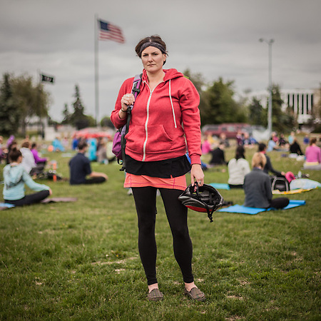 "BP Environmentalist Kyla Choquette at ""Yoga on the Park"" on Delaney Park Strip, Anchorage  akkylajoe@gmail.com (© Clark James Mishler)"