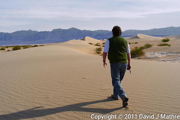 Michael Mariant Marking a GPS Trail to the Mesquite Flat Sand Dunes, Death Valley National Park. Image taken with a Leica X1 camera (ISO 100, 24 mm, f/5.6, 1/500 sec). Image processed with Capture One Pro, Focus Magic, and converted to jpg for web with Photoshop CS5. (David J Mathre)