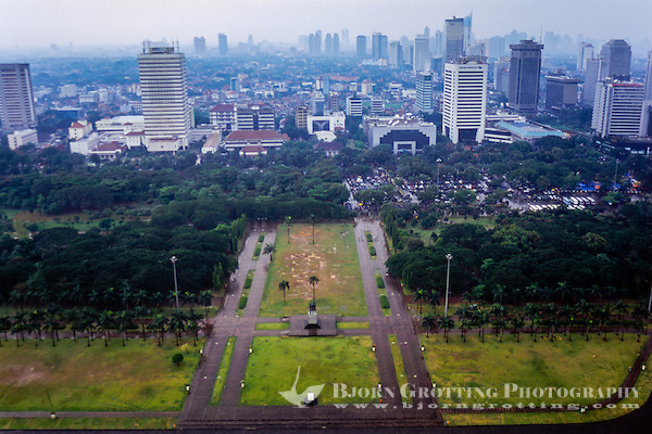 Indonesia, Java, Jakarta. View from MONAS, a lift runs to te top of the monument. View from MONAS, a lift runs to te top of the monument. (Photo Bjorn Grotting)