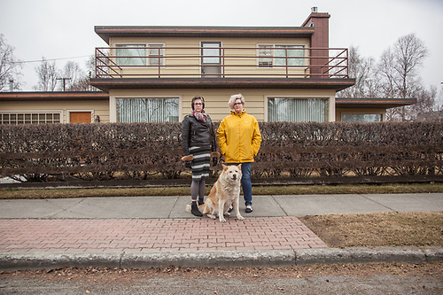 Neighbor Wendy Isbell with her daughter, Tina, and dog, Latte in Anchorage's South Addition Neigborhood  farbell@ak.net (© Clark James Mishler)