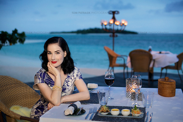 American actress and model Dita Von Teese at the Kanuhura resort in the Maldives. Von Teese wears her own selection of 1940s and 50s clothing. ..Photo: Tom Pietrasik.Kanuhura, Madives..August 18th 2009 (Tom Pietrasik)