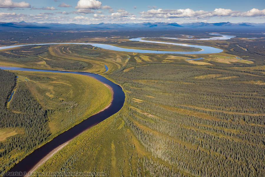 Aerial veiw of the Kobuk River and patterns of vegetation, Arctic, Alaska. (Patrick J Endres / AlaskaPhotoGraphics.com)